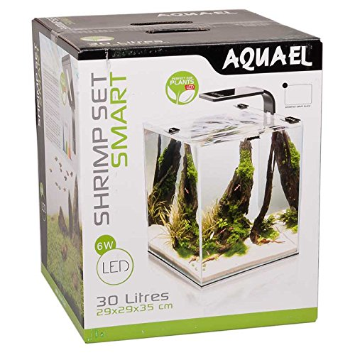 25 Aquarium Cube (Aquael Aquarium Shrimp Set SMART LED, Komplettset mit moderner LED-Beleuchtung (schwarz, 30 Liter))
