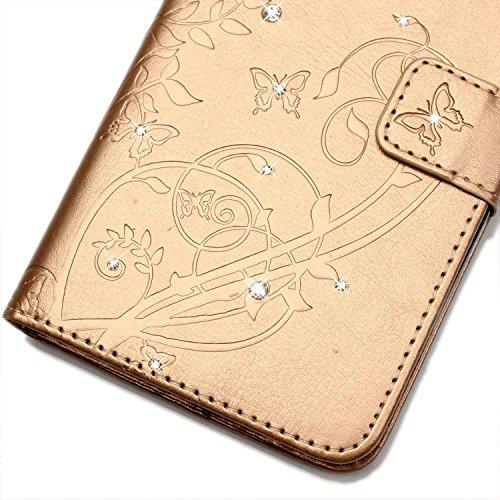 EKINHUI Case Cover LG G4 Case, Schmetterling und Blumen-Prägung Premium PU-Leder Tasche Cover Magnetische Flip Wallet Stand Case Folio Stand Hülle mit Bling Diamond Resine Rhinestone Dekor für LG G4 ( Gold