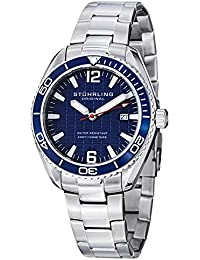 Stuhrling Original Men's Quartz Watch with Blue Dial Analogue Display and Silver Stainless Steel Bracelet 515.03