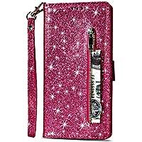 Yobby Glitzer Brieftasche Hülle für Samsung Galaxy S8, Samsung Galaxy S8 Rose Rot Handyhülle Bling Slim Reißverschluss Leder Schutzhülle Flipcase [Stand-Funktion] mit Kartenfach und Handschlaufe