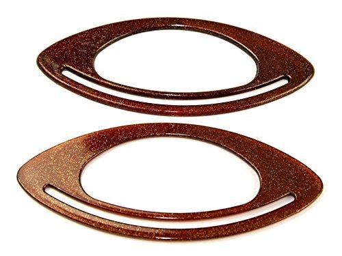 Budget Fish Eye Kunststoff Tasche Griffe Bernstein Glitzer braun–Pro Paar (2Einzelbetten) (Budget-tasche)