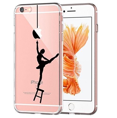 Caler® Coque Compatible/Remplacement pour iPhone 6 6S Coque transparente Anti Choc TPU de Protection Housse Étui Cat Souple Housse pour(Danseuse)