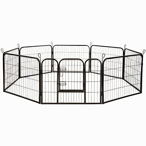 MCTECH® 8-tlg Freilaufgehege Kaninchen Tierlaufstal Welpenauslauf Freigehege Welpenfreigehege Laufstall für Kleintiere (80x60cm)