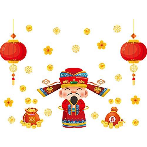 Wandaufkleber ZOZOSO Lunar New Year Frühlingsfest Chinese New Year Wandaufkleber Fenster Wohnzimmer Dekoration Malerei Göttin Der Segen