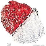Red / White Pom Pom Novelty Prop for Cheeleader USA Sport Fancy Dress Accessory