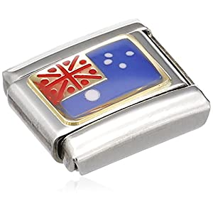 Nomination Composable Classic Flagge OZEANIEN Edelstahl, Email und 18K-Gold (AUSTRALIEN) 030238