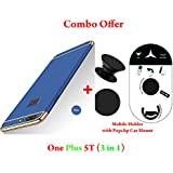 Like It Grab It Oneplus 5T / One Plus 5T Full Protection 360º Double Dip Super Slim Premium Shockproof 3 In1 Full Body Protection IPaky Back Cover Case For Oneplus 5T - ( Blue - Gold ) + PopSockets | Pop Grip Socket & Pop Mount Designer Phone Sta
