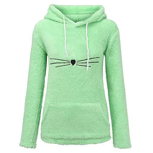 BHYDRY Kapuzenpullover Damen pärchen Pullover Plüsch-Kapuzenjacke für Damen Katze(Large,Grün A)