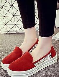 ZQ Zapatos de mujer-Tacón Plano-Comfort-Planos-Exterior / Oficina y Trabajo / Casual / Deporte / Laboral-PU-Negro / Rojo / Blanco / Caqui , burgundy-us5 / eu35 / uk3 / cn34 , burgundy-us5 / eu35 / uk3