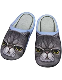 89a9954754553 Chaussons Hommes Femmes Pantoufles d Intérieur Maison Bureau 3D Animal  Chien Chat Mignon Chaud Chaussures Ouverts en Coton Doux…