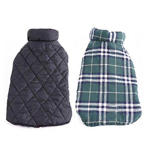 Haustier Hund Wasserdichten Reversiblen Karierten Jacke Mantel Winter Warme Kleidung Grüne M
