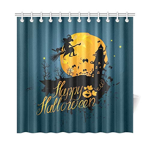 JOCHUAN Wohnkultur Bad Vorhang Halloween Nacht Silhouette Hexe Katze Fliegen Polyester Stoff Wasserdicht Duschvorhang Für Badezimmer, 72X72 Zoll Duschvorhänge Haken Enthalten (Hexe Badezimmer Abdeckung)