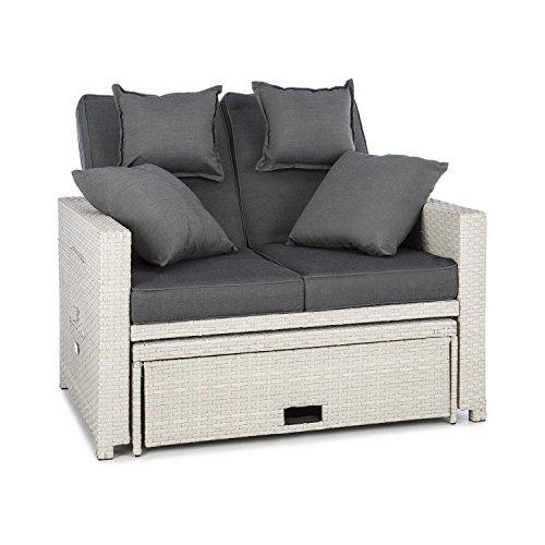 Blumfeldt komfortzone divano lounge sofa da giardino in rattan sintetico (due posti tavolo, poggiapiedi estraibile, tavolo pieghevole a lato, spessore cuscino 10 cm) bianco