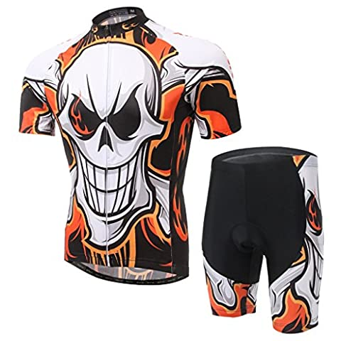 XINTOWN Summer Mens Cycling Bicycle Short Sleeve Jacket Comfortable Breathable Quick Dry Shirts Tops 3D Cushion Padded Shorts Tights Pants Sportswear - Comfortable , Lightweight , Breathable ( Color : Orange skeleton , Size : M )