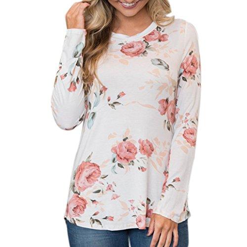 Imprimé Floral Femme Haut, LMMVP Occasionnelles T-shirt Rose Impression à Manches Longues Tops Blouse Chemise (s, Blanc)