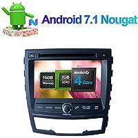 Android 7.1 Quad Core Reproductor de CD DVD estéreo para coche en salpicadero, unidad de radio con Bluetooth GPS navegación para Ssangyong Korando 2010 ...