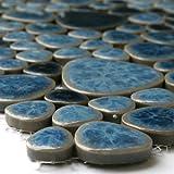Keramik Mosaik Fliesen Kiesel Optik Antikblau Marmoriert