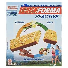 Pesoforma Beactive Vaniglia, Nocciole e Cioccolato – Snack Proteico Sport – 6 barrette proteiche – 112 Kcal