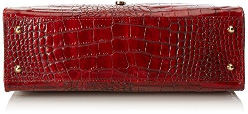 CTM Tasche Frauen Handtasche Classic mit Krokoprint, 37x26x14cm, echtes Leder 100% Made in Italy Rot (Rosso)