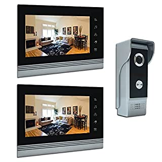 AMOCAM 7 Video Intercom Systems, Aluminium Alloy/Acrylic Panel Wired Video Door Phone Doorbell Doorphone Kit, Support IR Camera Monitor, LCD Monitor, Intercom, Unlock, Dual-way Door 2 1-