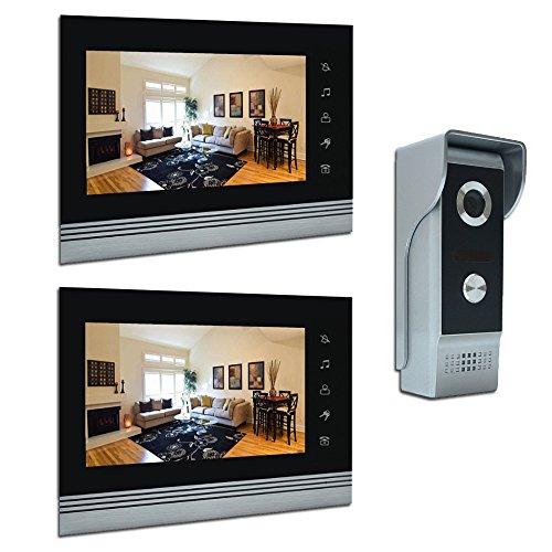 "AMOCAM 7"" Video Intercom Systems, Aluminum Alloy / Acrylic Panel Doorphone, Wired Video Door Phone Doorbell Kits, Support Monitoring, Unlock, Dual-way Door Intercom, 2- LCD Monitor, 1- IR Camera"
