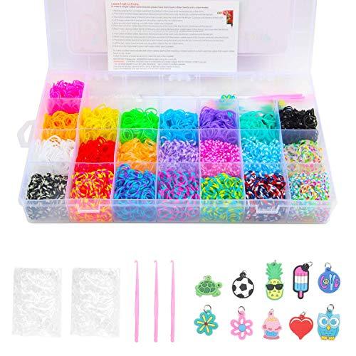 Yi RAN 4200 Teile XL Loom Bänder Kit Loom Armbänder Set Gummibänder mit 10Charms Anhänger Webrahmen 4Haken 96S-Clips Aufbewahrungskoffer (Loom Kit Armband)