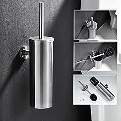 Auralum® Porte Brosse Toilette Support Mural en Nickel Brossé Balai pour Toilette WC Imperméable
