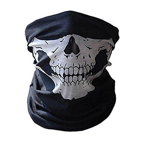 Woopower Skull Balaclava -passamontagna, bandana, scaldacollo con stampa a teschio, casco da bici, moto, maschera da sci, per escursioni traspirante, maschera per Halloween, white1, skull