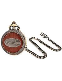 Bling Jewelry Reloj de Bolsillo para Hombre Estilo Vintage Chapado en Oro con Madera Grabado Abuelo