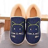YSFU Hausschuhe Frauen Baumwolle Hausschuhe Cute Cartoon Pet Hausschuhe Damen Winter Weiche Indoor Schuhe Flach Mit Hausschuhe, 8.5