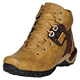 Kraasa Men's Beige Brown Synthetic Boot - 6