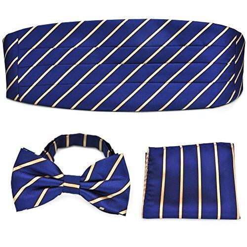 PenSee förmlichen Deep Blue & goldfarbenen Streifen-Fliege & & Kummerbund Einstecktuch quadratisch