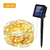 Solar String Lights, ieGeek 100LED Solar Fairy Lights Ambiance Lighting for Garden, Home, Dancing, Party, Wedding, Christmas, Bedroom Window, Indoor & Outdoor - Warm White 39FT
