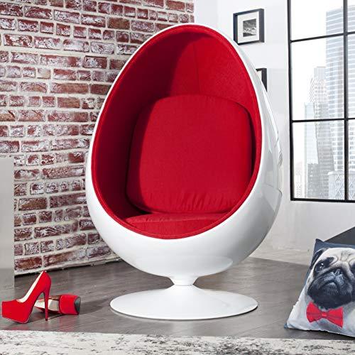 cagü: Design Retro Lounge Sessel Sitzei [EGG BALL] Weiß-Rot drehbar Designklassiker Space Age, NEU!