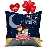 Indibni Valentine Day Gift Love Quote Newly Wed Happy Married Couple On a Ride Blue Cushion Cover 16x16 inch - Gift for Boyfriend, Girlfriend, Birthday, Wife, Husband, Anniversary