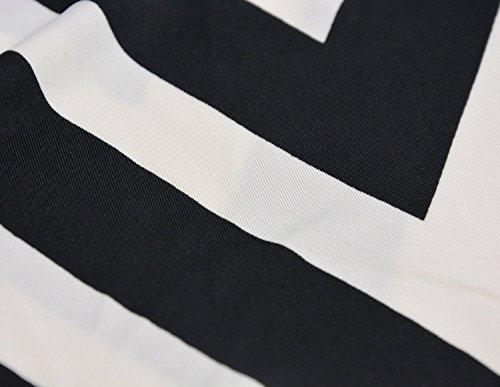 Sommerkleid Damen Maxikleid Strandkleider Damen Lang Partykleid Maxi Kleider mit Zackenmuster Elegant Schwarz-Weiß