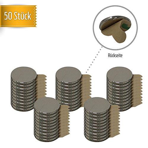50 Stück selbstklebende Neodym-Magnete | extra starke Magnetisierung N52 | runde Dauermagnete 10x1mm | Büro/Kühlschrank/Whiteboard/Schule/Küche