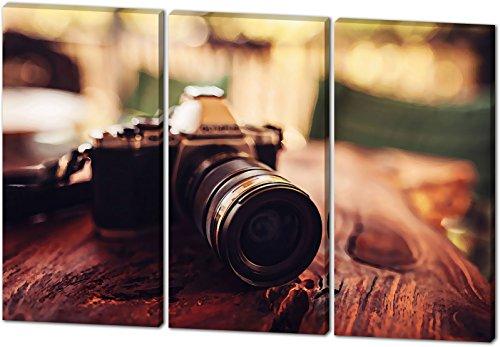 Vintage Kamera, Gemälde Effekt, schönes und hochwertiges Leinwandbild zum Aufhängen in XXL - 3 Teiler mit 120cm x 80cm, echter Holzrahmen, effektiver Pigmentdruck, modernes Design für Ihr Büro oder (Kostüm Box Kopf In Einer)