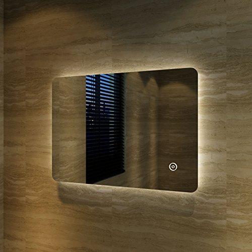 Badspiegel Lichtspiegel LED Spiegel Wandspiegel mit Sensor-Schalter 70 x 50cm kaltweiß IP44 energiesparend