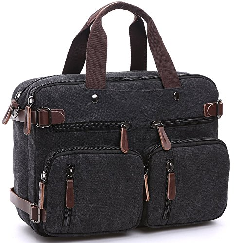 Herren Canvas Tasche Canvas Handtasche Schultertasche Ideal für Büro Canvas Rucksack Outdoor (Schwarz)