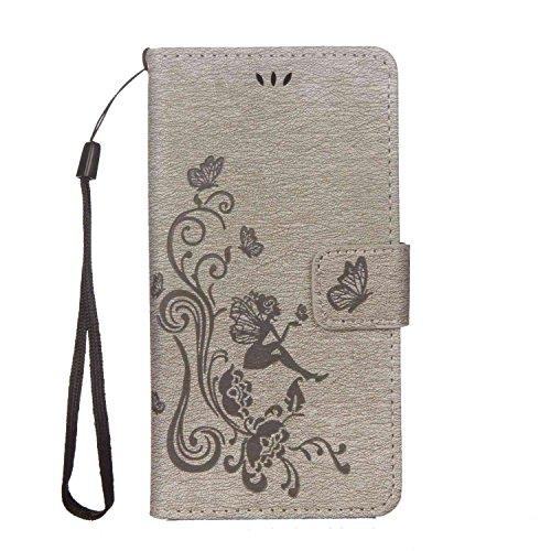 Custodia Per iPhone 7 Plus (5.5 pollice) , YINPIN Retro Fiore Modello Stampata Design Con Cinturino da Polso Case Protettiva Folio Flip Custodia Farfalla ragazza Goffratura Arts Fiore Nero Grigio