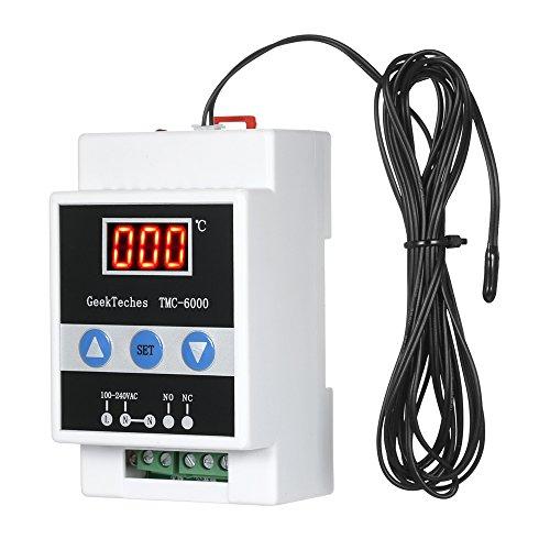 Docooler-Temperaturregler 110-240V Digitaler Temperaturregler für die Führungsschiene Thermostat Kühlung Heizung Temperaturregelung 1 Relais mit Sensorsonde - Heizung Kühlung Thermostat