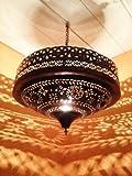 Orientalische Lampe Pendelleuchte Rostoptik Ashya E27 Lampenfassung | Marokkanische Design Hängeleuchte Leuchte aus Marokko | Orient Lampen für Wohnzimmer, Küche oder Hängend über den Esstisch