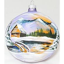 Grande único hecho a mano bolas de árbol de Navidad ornamento de cristal pintado caseta,