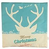 Luxbon Elk Deer Moose Weihnachten Haus Dekoration Geschenk Leinen Kissen Kissenbezug Lendenkissen Bettkissen Pillowcase Dekokissen 45 x 45 cm - 2