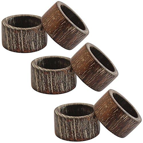 Anillos de servilleta de madera juego de...