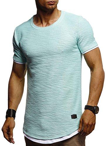 LEIF NELSON Herren Sommer T-Shirt Rundhals-Ausschnitt Slim Fit Baumwolle-Anteil | Moderner Männer T-Shirt Crew Neck Hoodie-Sweatshirt Kurzarm lang | LN8223 Mint Large