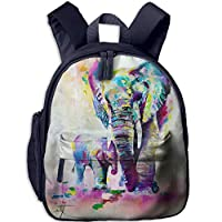 Colorful Indian Elephants Family Double Zipper Waterproof Children Schoolbag with Front Pockets for Kids