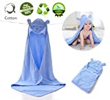 Baby Hooded Towel,Morbuy 100% Cotton Ultra Soft & Super Absorbent Toddler Hooded Bath Towel Hypoallergenic for Toddler & Infants Premium baby shower Keeps Dry and Warm (Blue)