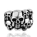 Lureme® acero inoxidable antigua maya estilo europeo exageró anillo de calavera de varios de los niños y hombres (04001053) (O)